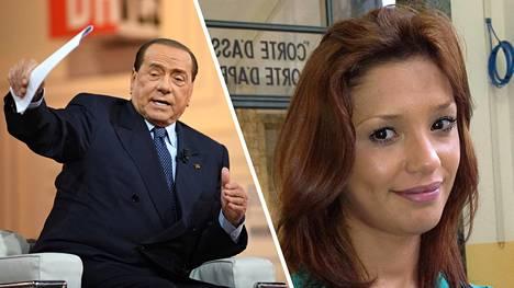 Silvio Berlusconi (vas.) ja Iman Fadil.