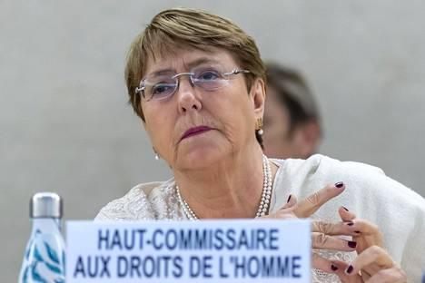 YK:n ihmisoikeuskomissaari Michelle Bachelet kuvattiin Genevessä 5. heinäkuuta 2019.