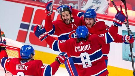 Artturi Lehkonen (oik.) upotti Vegasin kuutospelin jatkoajalla ja vei Montrealin finaaleihin.