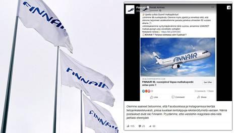 Facebookissa ja Instagramissa on levinnyt Finnairin julkaisuksi naamioitu mainos, joka on todellisuudessa tietojenkalasteluviesti.