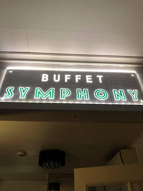 Keittiöstä löytyy tämä buffet-kyltti.