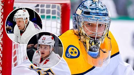 Pekka Rinne on suomalaisveskarien kaikkien aikojen tilastoykkönen NHL:ssä. Leo Komarov (vas.) ja Sebastian Aho kuuluvat onnistuneimpiin suomalaiskaappauksiin.