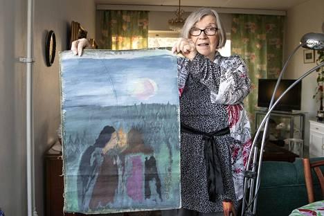 Mankkaan suolla asunut taidemaalari Olavi Martikainen lahjoitti yhden työnsä Elli Korpelalle 1970-luvulla.