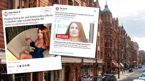 Playboy-kaunotar Siobhan Tedder joutui rajuun kahakkaan poliisien kanssa.