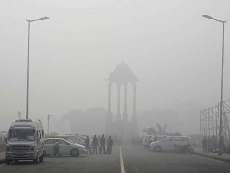 Kuva Intian pääkaupungista Delhistä viime vuoden helmikuulta.