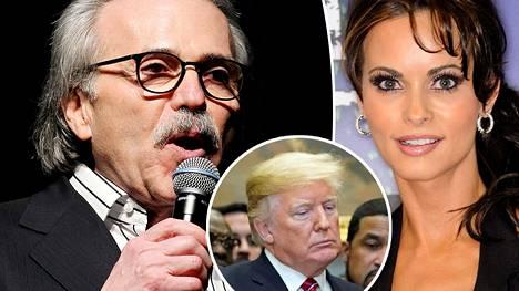 National Enquirer -lehteä julkaisevan AMI:n johtaja David Pecker (vas.) sopi vuonna 2015 Trumpin kampanjan kanssa ostavansa ja jättävänsä julkaisematta ex-Playboy-malli Karen McDougalin tarinan suhteestaan Donald Trumpiin.