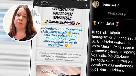 Instagramin valeprofiileilla lähestyttiin Ihanaiset.fi-nettikaupan asiakkaita.