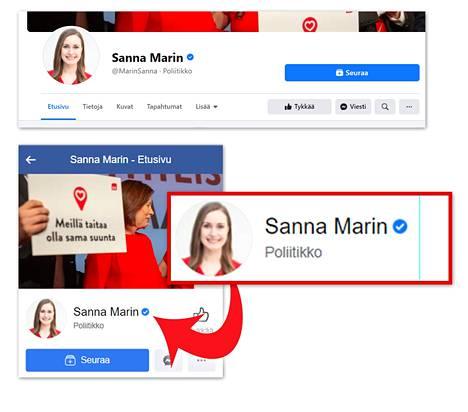 Kuvakaappauksia Sanna Marinin aidolta Facebook-tililtä. Näissä tilin omistajan nimen perässä on sininen varmistussymboli.