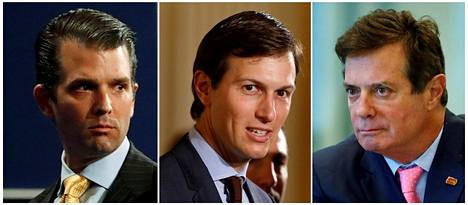 Presidentti Donald Trumpin poika Donald Trump Jr. (vas.), vävy Jared Kushner ja entinen kampanjapäällikkö Paul Manafort.