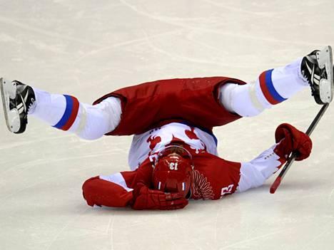 Venäjän jääkiekkojoukkueen kapteeni Pavel Datsyuk ennen keskiviikon Suomi–Venäjä-peliä.