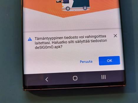 Android-puhelimeen yritetään ladata vieras sovellus. Kysymykseen ei saa missään nimessä vastata myöntävästi.