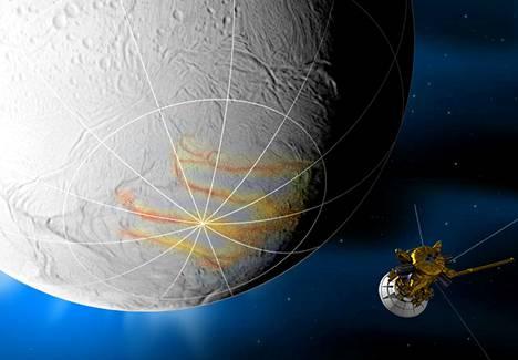 Taiteilijan näkemys Cassinista Enceladuksen lähellä.