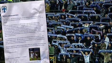 """Palloliitto jakoi Töölön stadionin lähellä olevien kerrostalon asukkaille ilmoituslappuja, joissa varoitettiin """"kaverikutsujen"""" aiheuttamasta metelistä."""