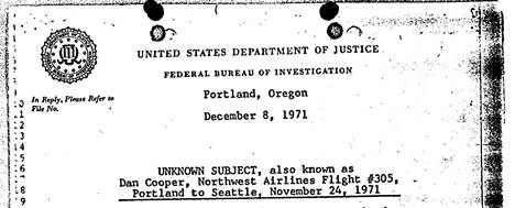 FBI:n paperi D.B. Cooperin tapauksesta vuodelta 1971.
