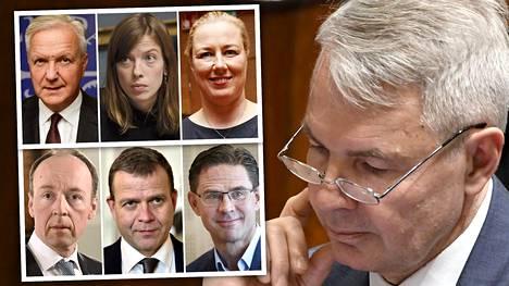Pekka Haavisto (oikealla), Olli Rehn (ylärivi vasemmalla), Li Andersson, Jutta Urpilainen, Jussi Halla-aho (alarivi vasemmalla), Petteri Orpo, Jyrki Katainen vai joku muu?