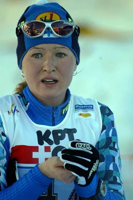 Riitta-Liisa Lassila (nyk. Roponen) Davosin maailmancupissa 2001.