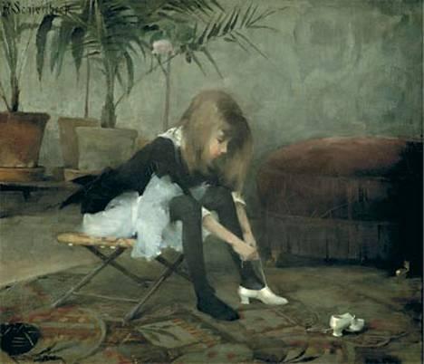 Helene Schjerfbeck maalasi Tanssiaiskengät vuonna 1882.