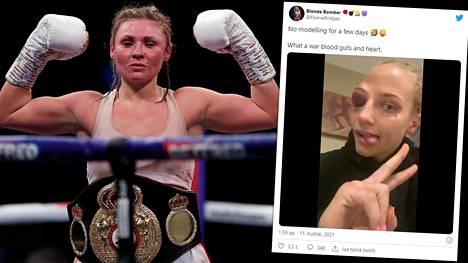 Shannon Courtenay (vas.) osoittautui nyrkkeilykehässä kovemmaksi kuin Ebanie Bridges.