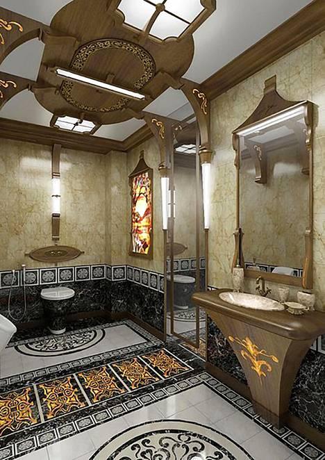 Myös koristeellisen kylpyhuoneen materiaalit ovat ylellisiä.