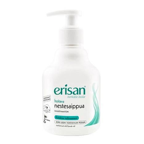 Erisanin hoitavaksi luvatussa saippuassa on SLS:ää mutta myös glyseriiniä. 3 € / 300 ml.