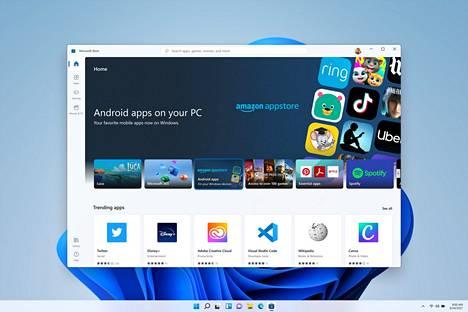 Android-ohjelmia voi ladata Amazon Appstore -sovelluskaupasta Microsoft Storesta.