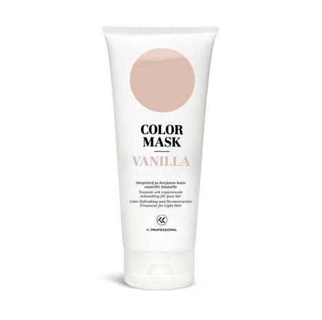 KC Professionalin sävyttävä ja korjaava hoito virkistää hiusväriä, lisää kiiltoa, taittaa hiusten sävyä oikeaan suuntaan, pidentää hiusvärin kestoa kampaamokäyntien välillä ja elvyttää auringon, meriveden sekä lämpö- ja värikäsittelyjen rasittamia hiuksia. Maski sisältää B5-provitamiinia ja keratiinijohdannaisia, jotka rakennepaikkaavat ja korjaavat hiuksia. Color Mask 16,50 € / 200 ml, saatavilla 16 eri sävyä.