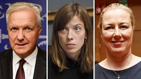 Olli Rehn (vas.), Li Andersson ja Jutta Urpilainen.