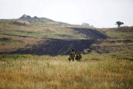 Israelilaissotilaita Golanin kukkuloilla keskiviikkona.