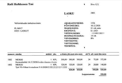 Pääjohtajaa stailattiin ennen Ylen A-studiota ja ennen Lehtikuvan kuvauksia yhteensä 520,80 eurolla.