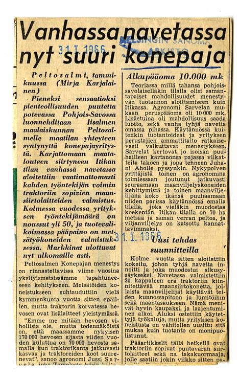 Normetia edeltänyt Peltosalmen konepaja ylti valtakunnan uutiseksi tammikuussa 1966.