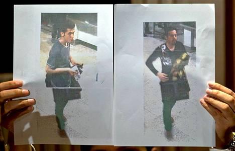 Malesian viranomaiset esittelevät Malaysia Airlinesin kadonneelle lennolle varastetuilla passeilla päässeiden miesten kuvia.
