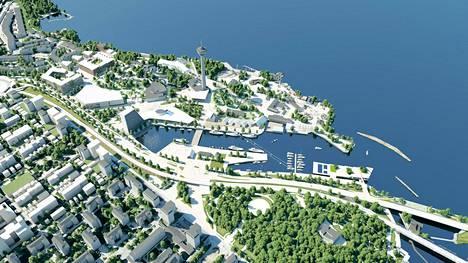 Havainnekuva Särkänniemeen kaavaillusta alueesta. Suunniteltu hotelli sijaitsee kuvassa huvipuiston alapuolisen Mustalahden päässä.