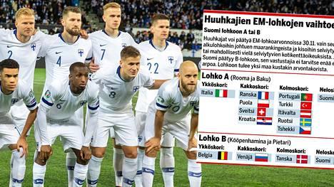 EM-kisojen lohkot arvotaan marraskuun lopussa. Ketkä Suomi kohtaa ensi kesän turnauksessa?