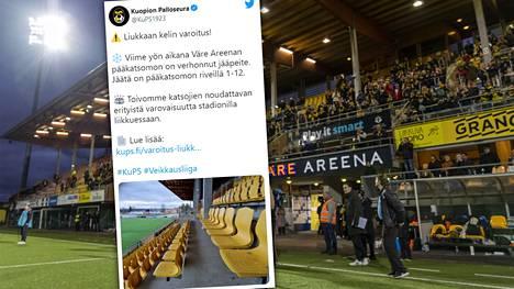 KuPS varoittaa stadionille suuntaavaa yleisöä.