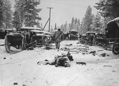 Veteraanit ovat kuvailleet taistelun jälkeisiä näkyjä uskomattomiksi. Tie ja tien varret olivat täynnä sotilaiden ruumiita ja kuolleita hevosia.