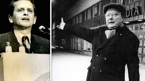 """Stig Engström eli """"Skandia-mies"""" poseerasi Olof Palmen murhapaikan lähellä kevättalvella 1986."""