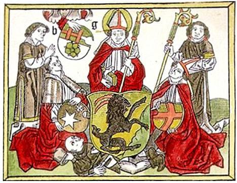Vuonna 1488 painetun messukirjan, Missale Aboensen, kuvassa esiintyvät piispa Henrik (keskellä) jaloissaan murhamies Lalli.