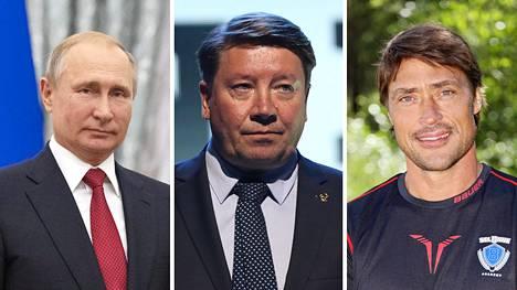 Vladimir Putin (vas.), Jari Kurri ja Teemu Selänne.