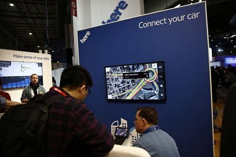 Nokia esitteli karttateknologiaansa Barcelonan mobiilimessuilla.