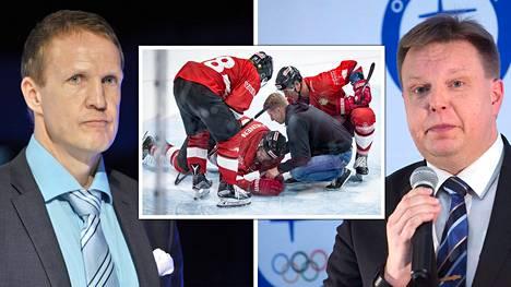 Mika Kortelainen (vas.) otti tv-lähetyksessä tiukasti kantaa taklaustilanteeseen. Jääkiekkoliiton puheenjohtaja Harri Nummela on keskustellut lausunnoista Kortelaisen kanssa.