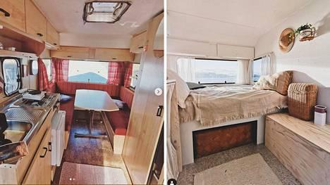 Laura ja Jeremias hankkivat asuntovaunun keväällä. Remontissa vaunu muuttui todenteolla.