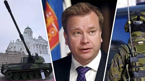 Puolustusministeri Antti Kaikkonen kommentoi Münchenin turvallisuuskokouksessa maavoimien komentajan tykkipuheita ja nuorten miesten kokemaa inttiahdistusta.
