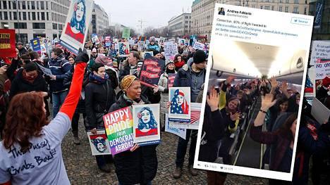 Berliinissä mielenosoittajat kerääntyivät lauantaina Brandenburgin portin läheisyyteen Yhdysvaltain suurlähetystön eteen. Twitterkuvassa puolestaan ollaan Yhdysvalloissa, matkalla Washingtonin mielenosoitukseen.
