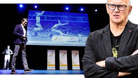 Yleisurheilumanageri Jukka Härkönen (oik.) arvostelee huippu-urheiluyksikön johtajia ylipalkatuiksi. Mika Kojonkoski (vas.) toimii yksikön johtajana.