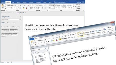 Vasemmalla oleva Office 365:n Word antaa kirjoittaa yhdysmerkin oikein. Oikealla oleva Word 2010 sen sijaan korjaa merkin virheellisesti pitkäksi pidemmäksi ajatusviivaksi.