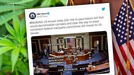 Yhdysvaltain demokraattienemmistöinen edustajainhuone sallisi kannabiksen dekriminalisoinnin.