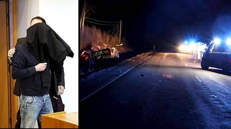 Mopoautossa olleet 17-vuotiaat tyttö ja poika saivat surmansa välittömästi. Vasemmalla syytetty oikeudessa.