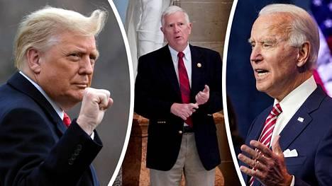 Presidentti Donald Trump kiitti edustajainhuoneen jäsenen Mo Brooksin (kesk.) aikeita kyseenalaistaa vaalitulokset kongressissa. Valitsijamiehet vahvistivat Joe Bidenin vaalivoiton tiistaina.