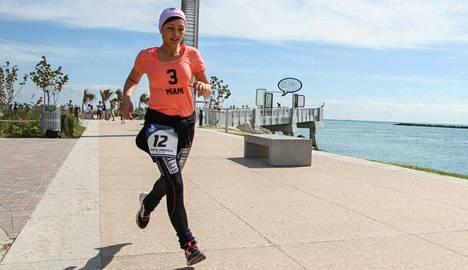 Marianna Zaikova juoksi maanantaina Miamissa.