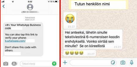 Hyökkäyksessä puhelimeen tulee kaksi viestiä: tekstiviesti sekä WhatsApp-viesti, joka tulee tutun henkilön kaapatulta tililtä. Tekstiviestitse tullutta numeroa ei saa lähettää vastauksena WhatsApp-viestiin.
